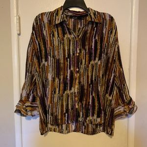 Essentials by Milano Button Down Blouse Size M